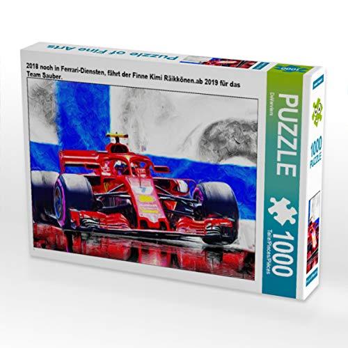 CALVENDO Puzzle 2018 noch in Ferrari-Diensten, fährt der Finne Kimi Räikkönen.ab 2019 für das Team Sauber. 1000 Teile Lege-Größe 64 x 48 cm Foto-Puzzle Bild von DeVerviers