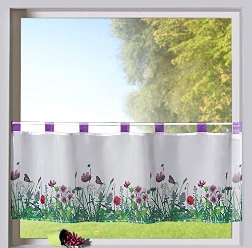 heimtexland ® Scheibengardine Frühling Schlaufenbistro in lila Blumen Wiese hochwertiger Druck auf Voile in weiß Panneaux HxB 45x120cm Gardine Typ322