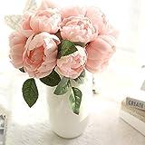 DAY.LIN 1 Bouquet de 6 Têtes Fleurs Artificielles Pivoine Plantes De Mariée Bouquet Fête De Mariage Accueil Faux Floral Artisanat Décoration de la Maison Artificielle Fleur