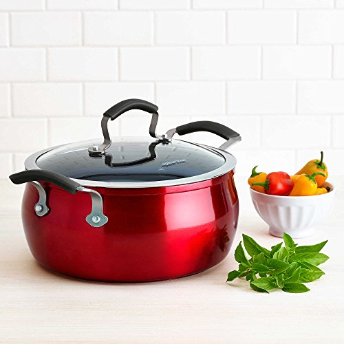 Thermally Efficient Heavy-Gauge Aluminum Construction Metal Utensil Safe Nonstick Interior 5 qt. Covered Chili Pot in Red