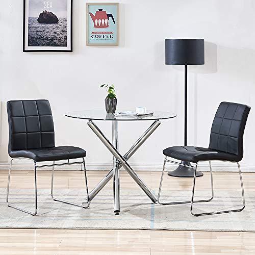 SICOTAS 3 Piece Round Dining Table Set, Modern Kitchen Table and Chairs for 2 Person,Dining Room Table Set with Clear Tempered Glass Top, Dining Set for Dining Room Kitchen (Table + 2 Black Chairs)