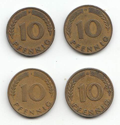 generisch Set 4 x 10 Pfennig D, F, G, J 1949 Bank Deutscher Länder 1949 (Münzen für Sammler)