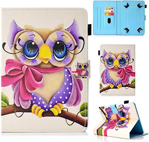 Funda para 7' Tableta, Carcasa Protección para iPad Mini, Samsung Galaxy Tab A6 7'/Galaxy Tab 3 Lite, Huawei MediaPad T3 7', Kobo Aura H2O Edition 2, Lenovo Tab3 A7-10/Tab 7 Essential (Búho)