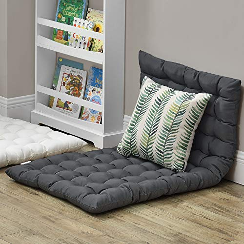 [en.casa] Bodenkissen 120x60cm Sitzkissen Kissen für Sitzecke Loungekissen Bodenmatratze ca 5 cm Dick Dunkelgrau