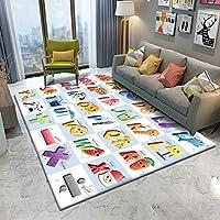 ZHHRHC ラグ子供用フランネルカーペット動物パズルゲーム赤ちゃんのために学ぶ子供部屋で長方形のカーペットをプレイ
