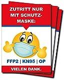 CarGuys 3er Set Aufkleber • Smiley Zutritt nur mit FFP2-Mundschutz Pflicht • DIN A4 (210 x 297 mm), rechteckig, Hinweis-Aufkleber, selbstklebend.