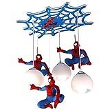 LuzDeTecho Para Niños, Luz Colgante Creativa De Spider Man, LamparasDeTecho LED Para Dormitorio De Niños Habitación De Niña Princesa, Pantalla De Vidrio, Placa De Techo De Madera 57Cm, 21W+E27×3
