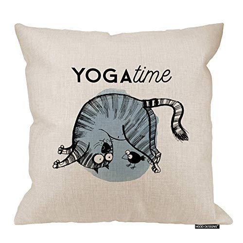 Funda de almohada para gato, divertida, para yoga, asana, gatos, algodón, lino, poliéster, decoración para el hogar, sofá, silla de escritorio, dormitorio, 45,7 x 45,7 cm