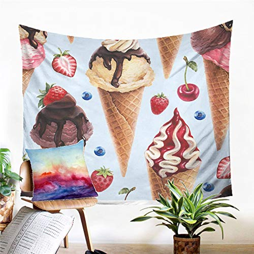 N / A Tapestry home decoration Summer Ice Cream Tapestry Wall Hanging Sandy Beach Picnic Rug Camping Tent Sleeping Pad Home Decor Bedspread Sheet Wall Cloth