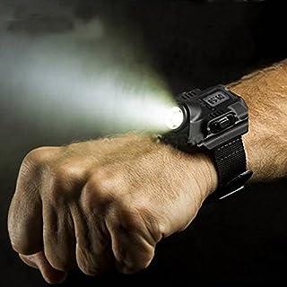 Ocamo Super Bright Watch Flashlight Torch Lights Rechargeable LED Wristlight USB Wrist Watch Wristband Lamp for Running Climbing Survival Hiking Hunting Patrol