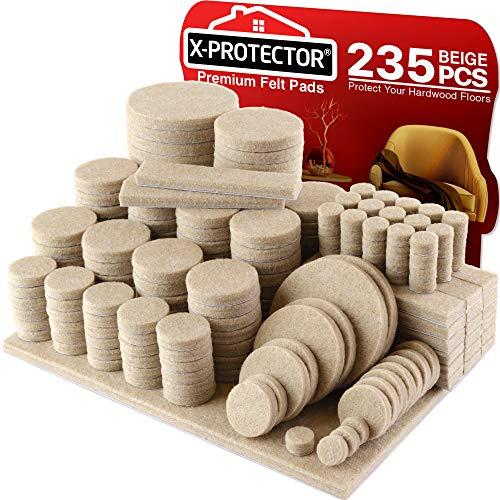 X-PROTECTOR Filzgleiter selbstklebend - 235 Stück Möbelgleiter – Filzgleiter Groß für Stuhlbeine - Premium Möbel Filz selbstklebend für Möbelfüße - Vorteilspack - Schützen Sie Ihre Holzfußböden!