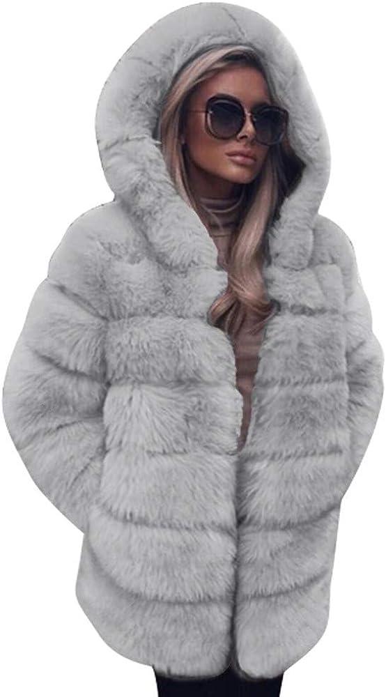 Winter Plush Coat,Fashion Faux Fur Fluffy Hooded Jacket Plus Size Warm Overcoat