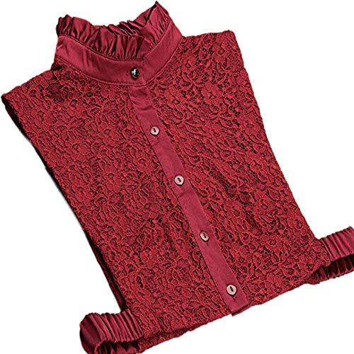 2017 Vintage nuevo hecho a mano rojo encaje falso decorado camisa mujer mujer grande bordado super – collares desmontables exagerados, rojo