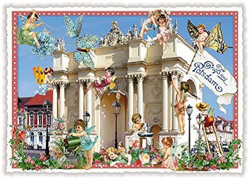 Nostalgische Postkarte mit Glitzer * Potsdam