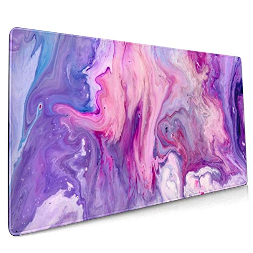 Purple Marble Large Gaming Mouse Pad with Stitched Edges (35.4x15.7In), Extended Mousepad Non-Slip Rubber Base Keyboard Mat Desk Pad for Work Gaming