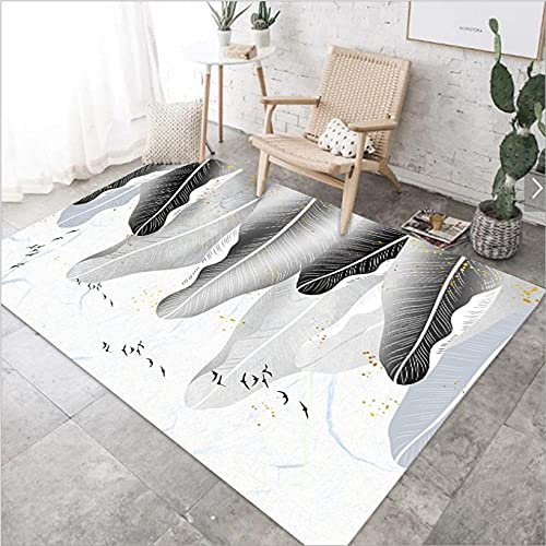 Alfombra moderna antideslizante para sala de estar, lavable en blanco y negro, pintura de paisaje, 80 x 120 cm