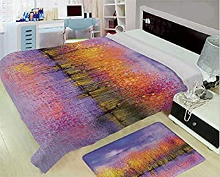 3-D Printing Fine Comfortable Flannel Blanket,Autumn Decor,Seasonal Landscape Paint with Shady Fall Trees by River Pastel Artwork,Lavander Yellow,One Side Printing,Excess Value