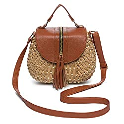 ❤【Top 10 Hot Women Straw Shoulder Bag】: Best choice for fashionista.100% natural & handmade paper & leather bag; Exquisite straw surface, hasp closure, unique and chic. ❤【Structure】The straw bag has one main pocket with leather strap; There are enoug...