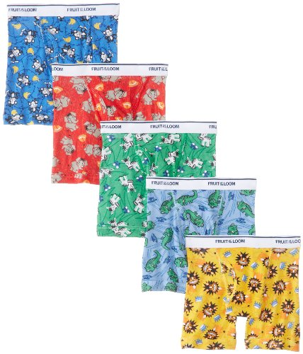 Fruit of the Loom 5 Pack Assorted Print & Solid Boxer Briefs,Solids - Assorted (Pack of 5), 2T/3T