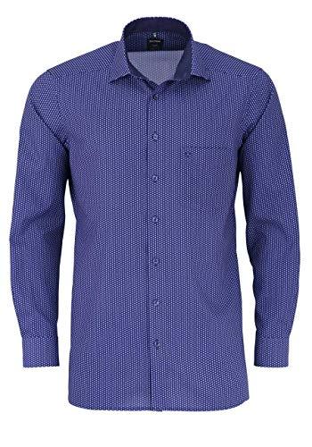 Olymp Luxor modern fit Hemd Langarm New Kent Kragen Muster blau Größe 40