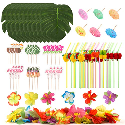 LIHAO 184 Piezas Hawaianas Decoraciones para Fiestas Tema Tropical de la Selva de Hawaii, Hojas de Palmeras Tropicales, Flores de Hibisco, Mini Palillos de Paraguas, Pajitas de Frutas, Toppers Tarta