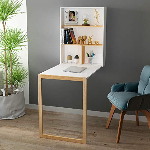 YUSONG Folding Wall Mounted Desk Drop Leaf Table, Wooden Wall Integrated Desk with Storage Shelves...