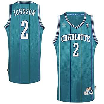 adidas Larry Johnson Charlotte Hornets #2 Teal Youth Hardwood Classic Swingman Jersey  Small 8