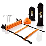 Bltzpro Football and Soccer Training Equipment - Cones & 20ft Agility Ladder Speed Practice kit for Kids and...