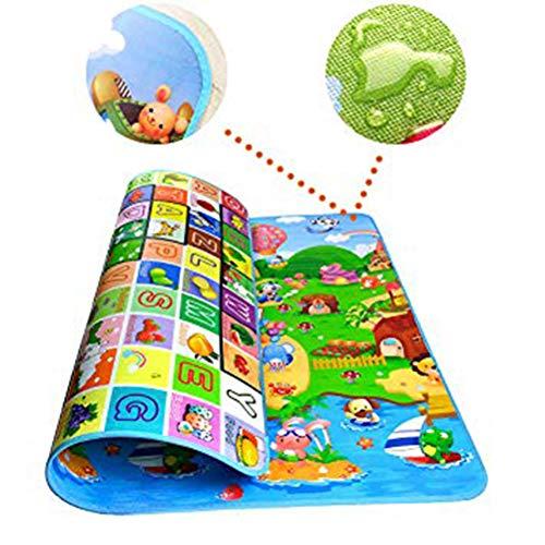 Animali Tappetino Gioco con Tappetini Ripiegabile per Bambini Gioco Doppia Faccia Impermeabile GrandeAlfabeto per Casa e All 'aperto (Multicolore, 1.8m x 1.2m)