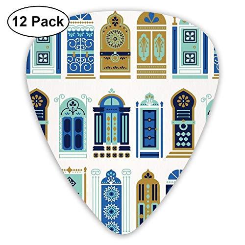 Gitaar Pick Marokkaanse Deuren Blauw & Goud Palet 12 Stuk Gitaar Paddle Set Gemaakt Van Milieubescherming ABS Materiaal, Geschikt voor Gitaren, Quads, Etc