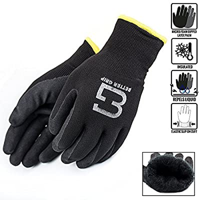 TSWANS Safety Winter Insulated Rubber Coated Double Lining Work Gloves, 3 Pairs/Pack