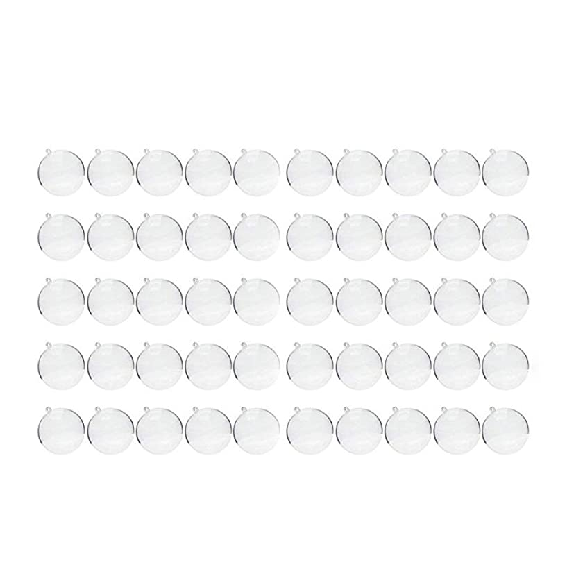 Saim 60mm Clear Plastic Fillable Ball Ornament, DIY Bath Bomb Molds Pack of 50 Set