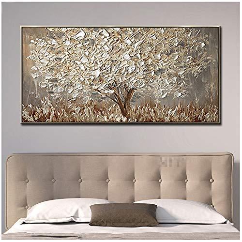 """PaintedOro Albero Dipinto su Tela di Grandi Dimensioni Quadri in Soggiorno Astratta Moderna di Arte della Parete 70x140cm (27.6""""x55.1)Senza Cornice"""