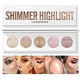 Highlighter Powder Palette, Makeup Palette Facial Bronzers Illuminator Palette Highlighter Baked Waterproof Long Lasting Brilliant Lighten Skin Color Face Contour Powder