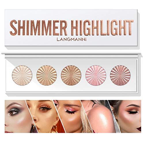 Highlighter Powder Palette Makeup Palette Facial Bronzers Illuminator Palette Highlighter Baked Waterproof Long Lasting Brilliant Lighten Skin Color Face Contour Powder