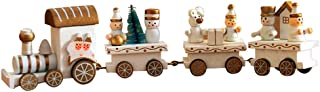 OULII Cute Wooden Mini Train Ornaments Kids Gift Toys for Christmas Party Kindergarten Decoration (White)