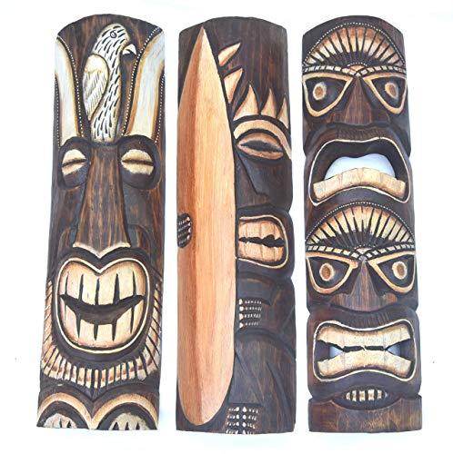 Interlifestyle 3 Tiki Masken 50cm im Hawaii Style 3er Set mit Surfer Totem Motiv Holzmaske Maui Wandmaske Südsee Maske Karibik
