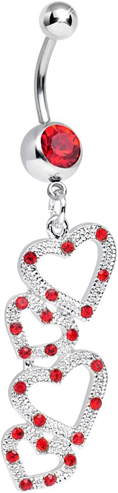 Body Candy Max 87% OFF Red Plenty of Love Belly Hearts Give Dangle Las Vegas Mall Hollow to