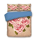 Blue 3pc Bedding Set,Pink Bouquet of Roses Retro Design Nature Love Romance Theme Grunge Display Decorative Twin Duvet Cover Set,Printed Comforter Cover With 2 Pillowcases for Teens Boys Girls & Adult
