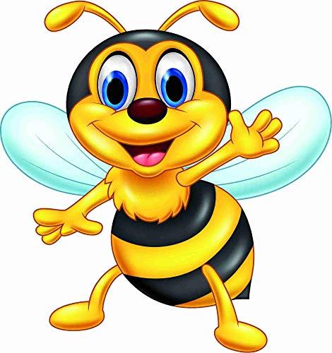 kleberio Aufkleber lustige Honig Biene 10 x 10 cm Sticker selbstklebend Autoaufkleber Bild Dekoration Wohnmobile Auto Motorradhelm Caravan Wohnwagen Moped Roller Motorrad Kindergarten Kita