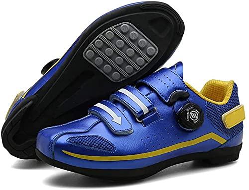 KUXUAN Calzado de Ciclismo para Hombre,Calzado de Ciclismo Sin Candados Bicicleta de Carretera para Hombres y Mujeres Calzado Asistido por Energía Bicicleta de Montaña Zapatillas,Blue-38EU