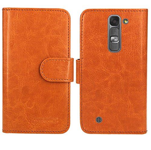 LG Magna / LG G4C Handy Tasche, FoneExpert® Wallet Hülle Flip Cover Hüllen Etui Ledertasche Lederhülle Premium Schutzhülle für LG Magna / LG G4C (Wallet Orange)