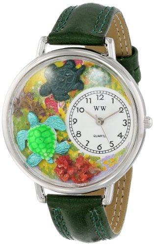 カメ 緑レザー シルバーフレーム時計#U0140003