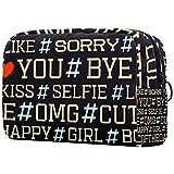 Bolsa de maquillaje personalizada para brochas de maquillaje, portátil, para mujer, bolso de mano, organizador de viaje, con hashtag