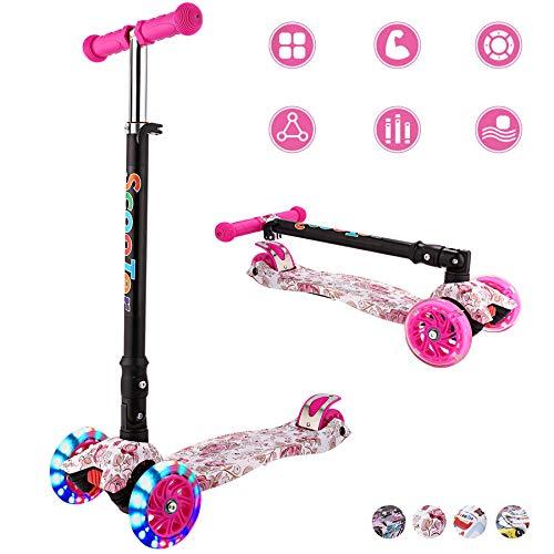 WeSkate Kids Scooter 3 Räder Faltbarer Roller, beleuchtete Räder und verstellbare Lenker, Roller für Mädchen und Jungen 3-12 Jahre Mehrfarben und Druck