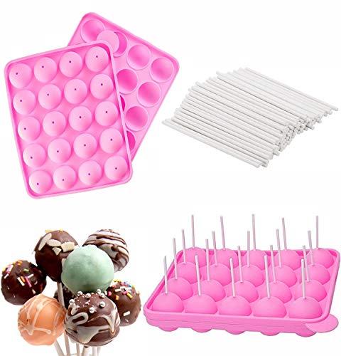 Cake Pop Formen,Silikon Cake Pop Backform,20 Runde Formen Silikon Lollipop Form Tablett Kuchen Silikonform Cake Pop Formen Set für Cupcake, Schokolade,Gelee DIY-Werkzeuge
