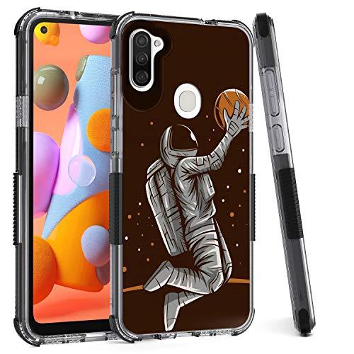Savino Shockproof Case for Samsung A11, Galaxy A11 Phone Case with Heavy Duty Bumper, Hybrid TPU PC Slim Case for Samsung Galaxy A11 (Spaceman Black)
