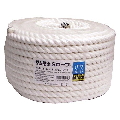 まつうら工業 クレモナS ロープ 3打ち 16mm×50m 丸巻パック