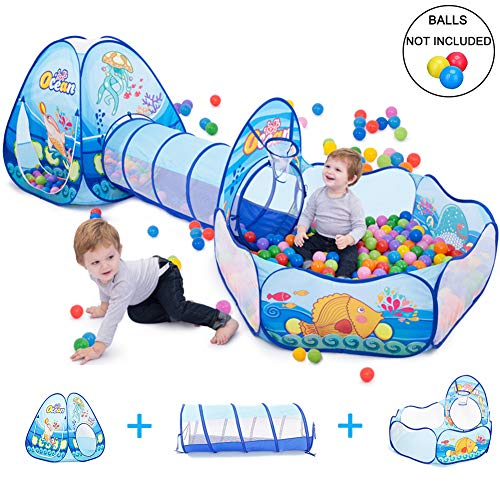 LOJETON Kids Play Tent, Tunnel & Ball Pit with Basketball Hoop for Boys, Girls and Toddlers-Indoor / Outdoor Playhouse