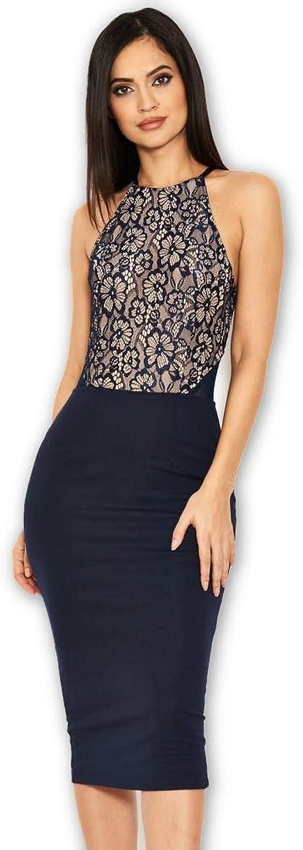 AX Paris Women's Black Contrast Lace Top Midi Dress
